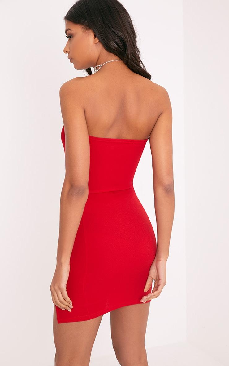 Layala robe moulante bandeau détail fente rouge 2