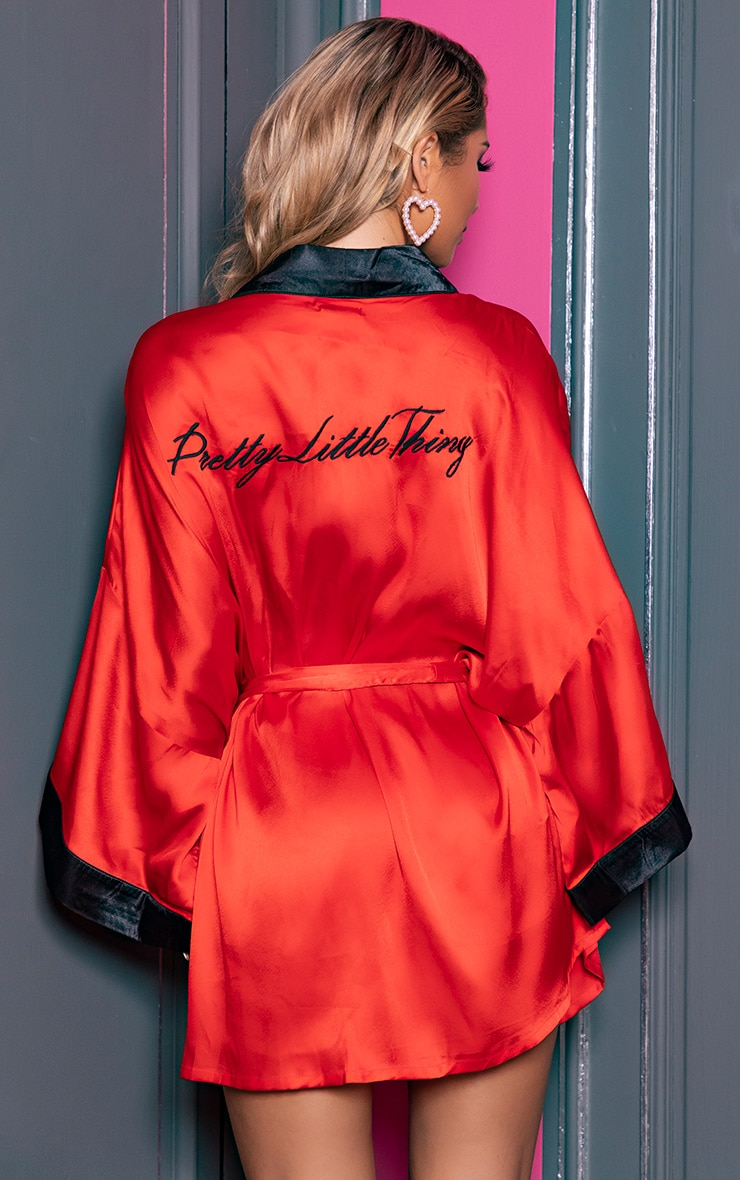 PRETTYLITTLETHING Red Satin Robe 3