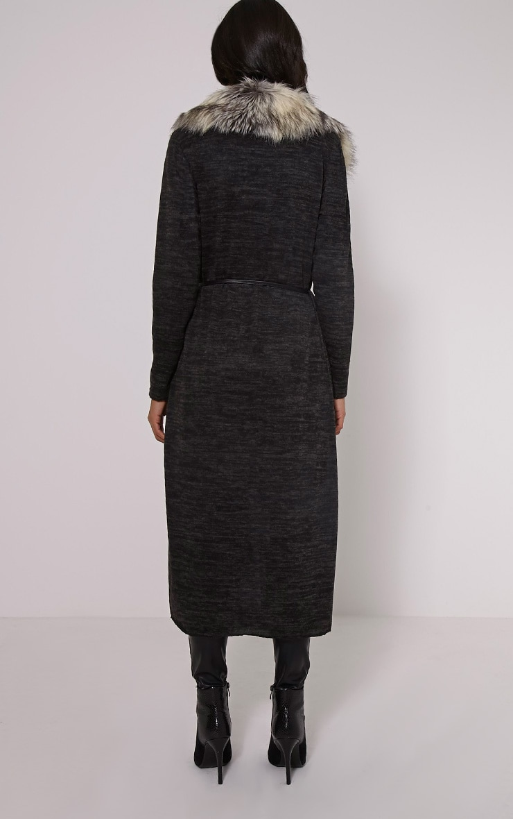 Cathie Grey Fur Collar Belted Cardigan 2