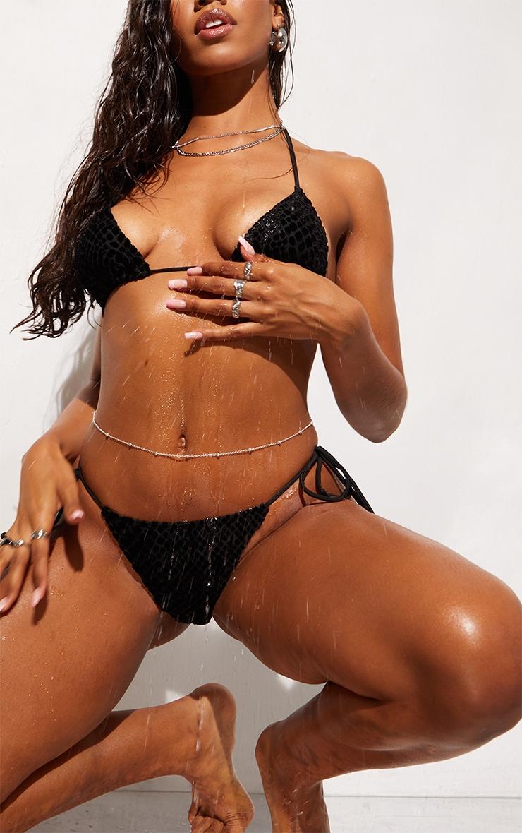 Black Devore Tie Side Bikini Bottoms 4