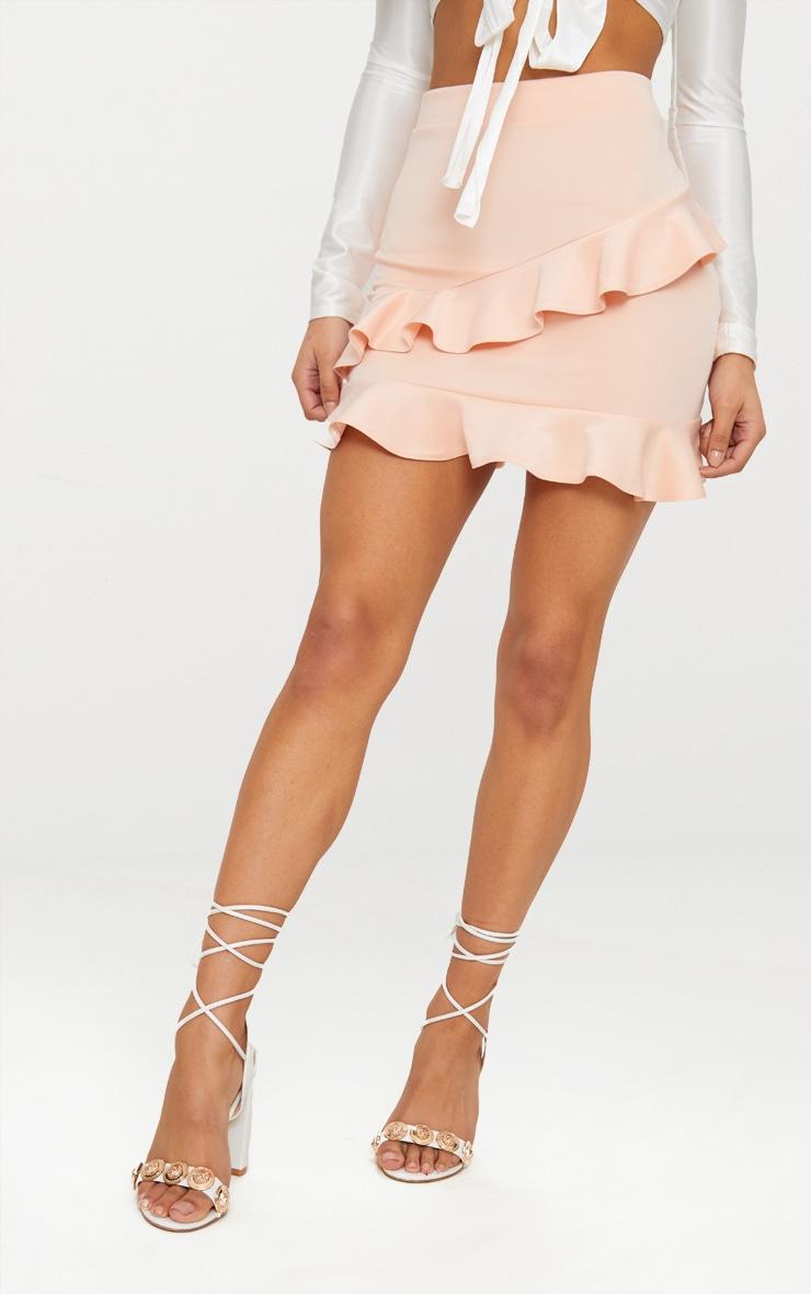 Blush Scuba Double Frill Mini Skirt 2