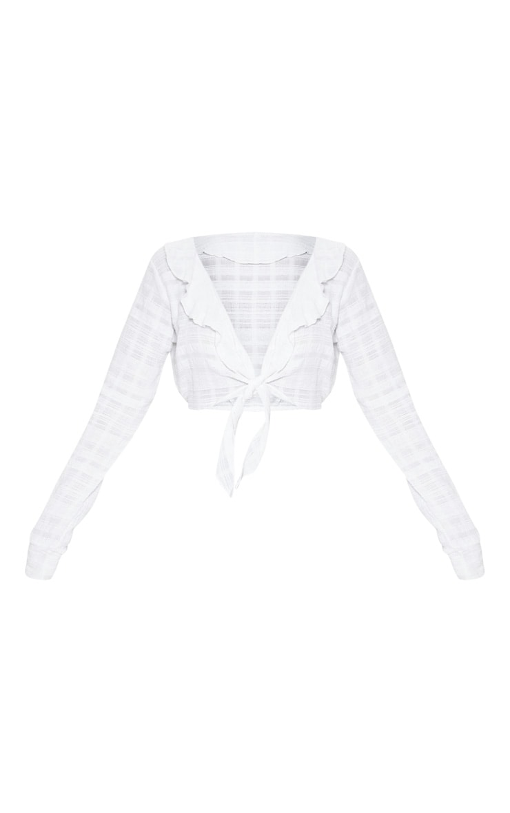 White Cheesecloth Tie Front Blouse 3