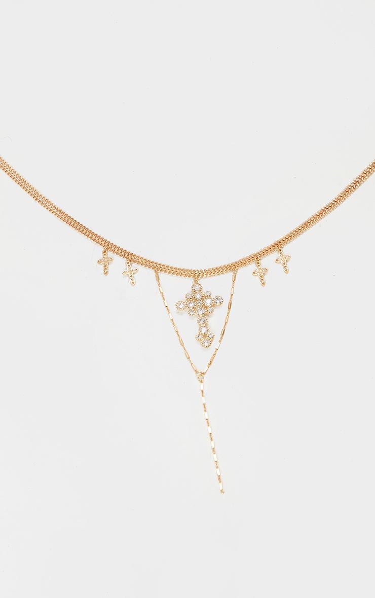 Gold Cross Diamante Multi Layering Necklace 3