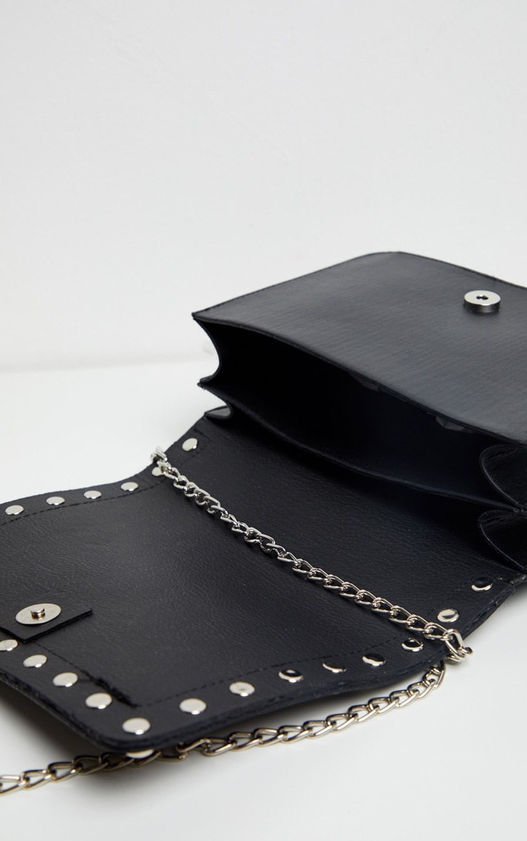 Black Studded Croc Cross Body Bag 3