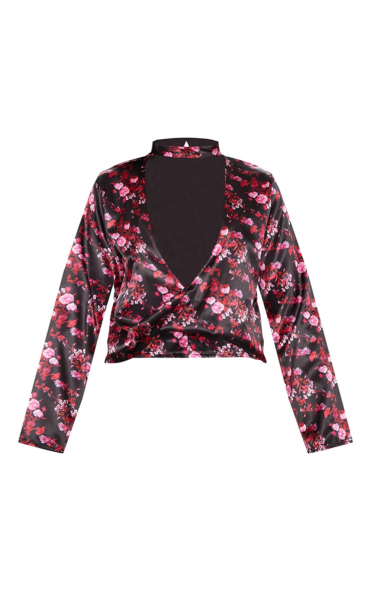 Black Floral Choker Plunge Twist Front Blouse 3