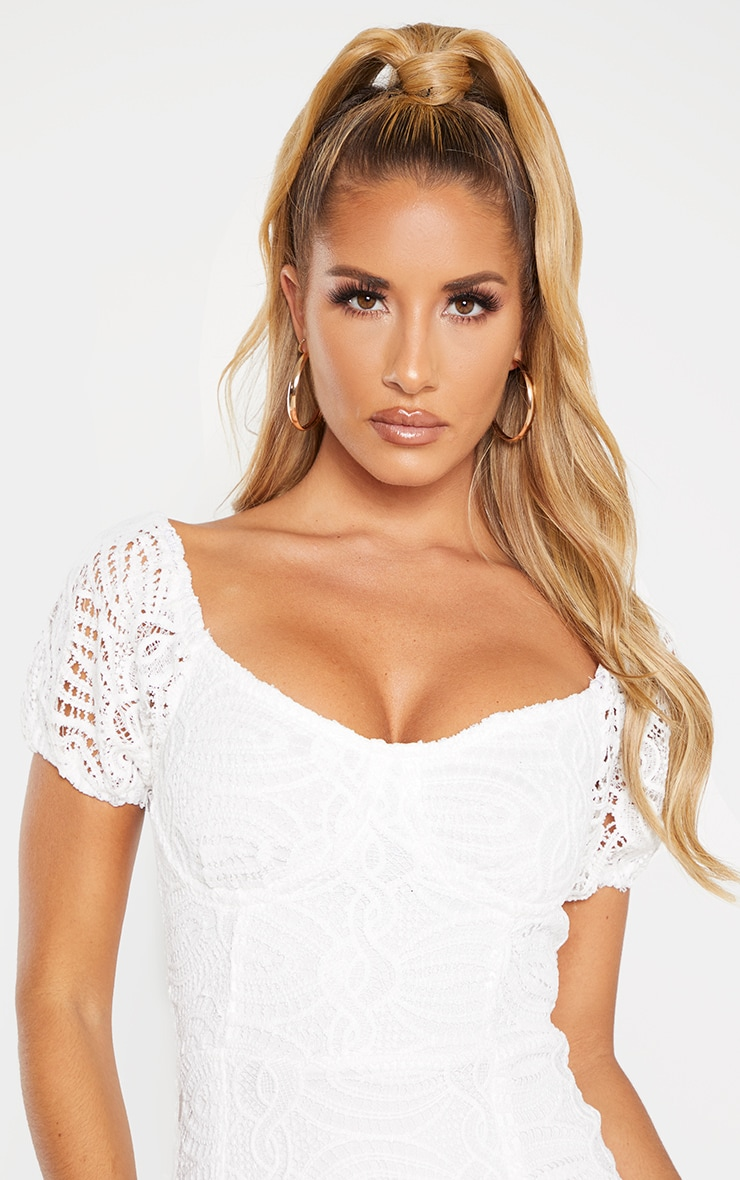 White Cup Detail Lace Bardot Midi Dress 5
