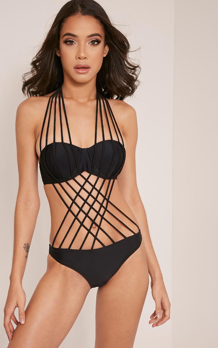 Easton Black Multi Strap Detail Swimsuit 1