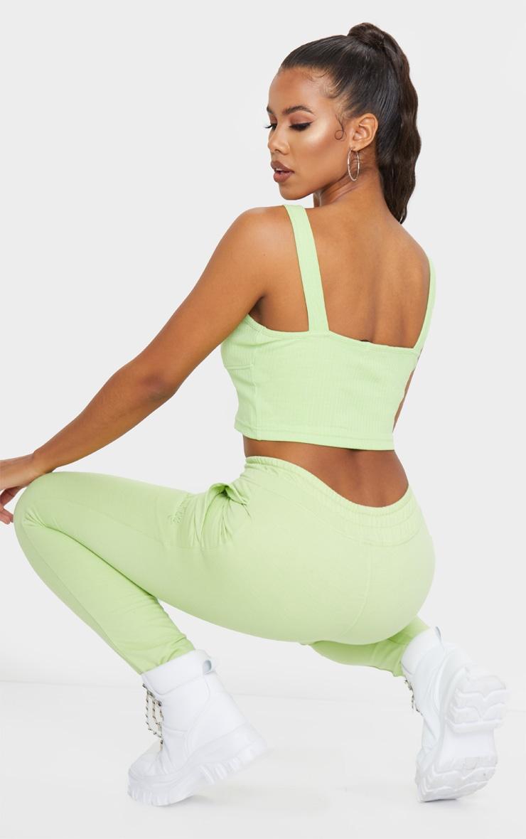 Lime Green Basic Rib Crop Top 2