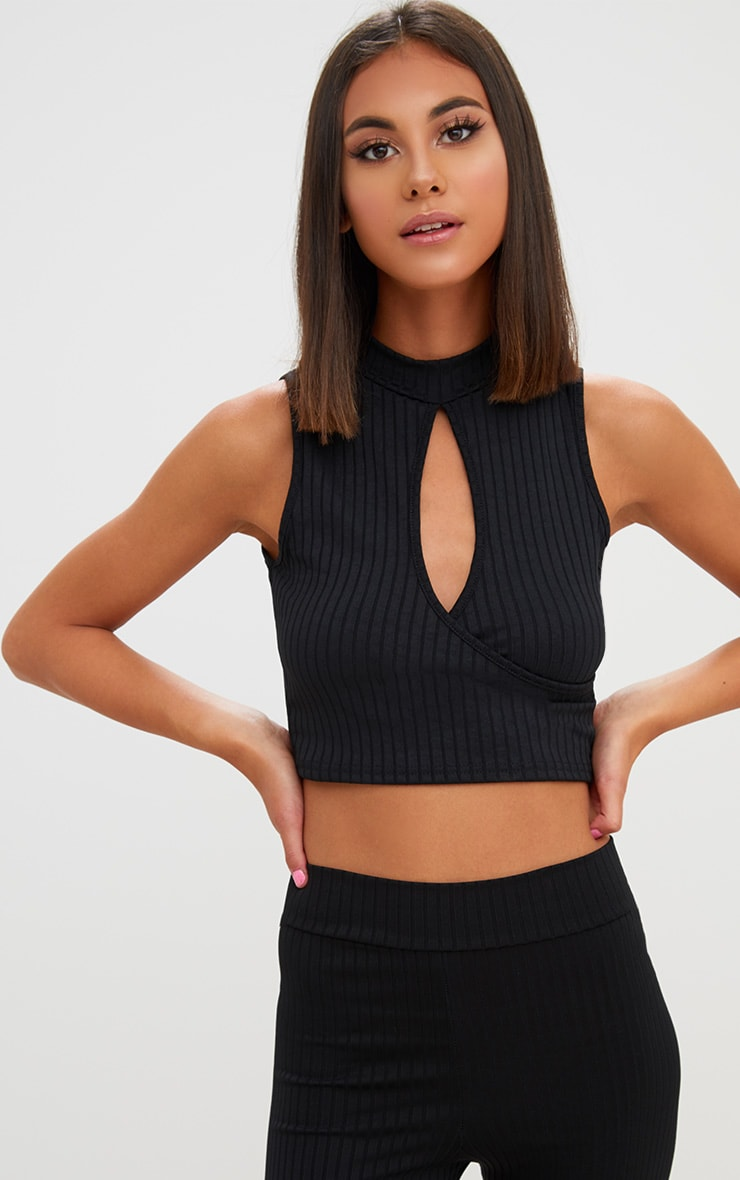 Black High Neck Keyhole Ribbed Crop Top  1
