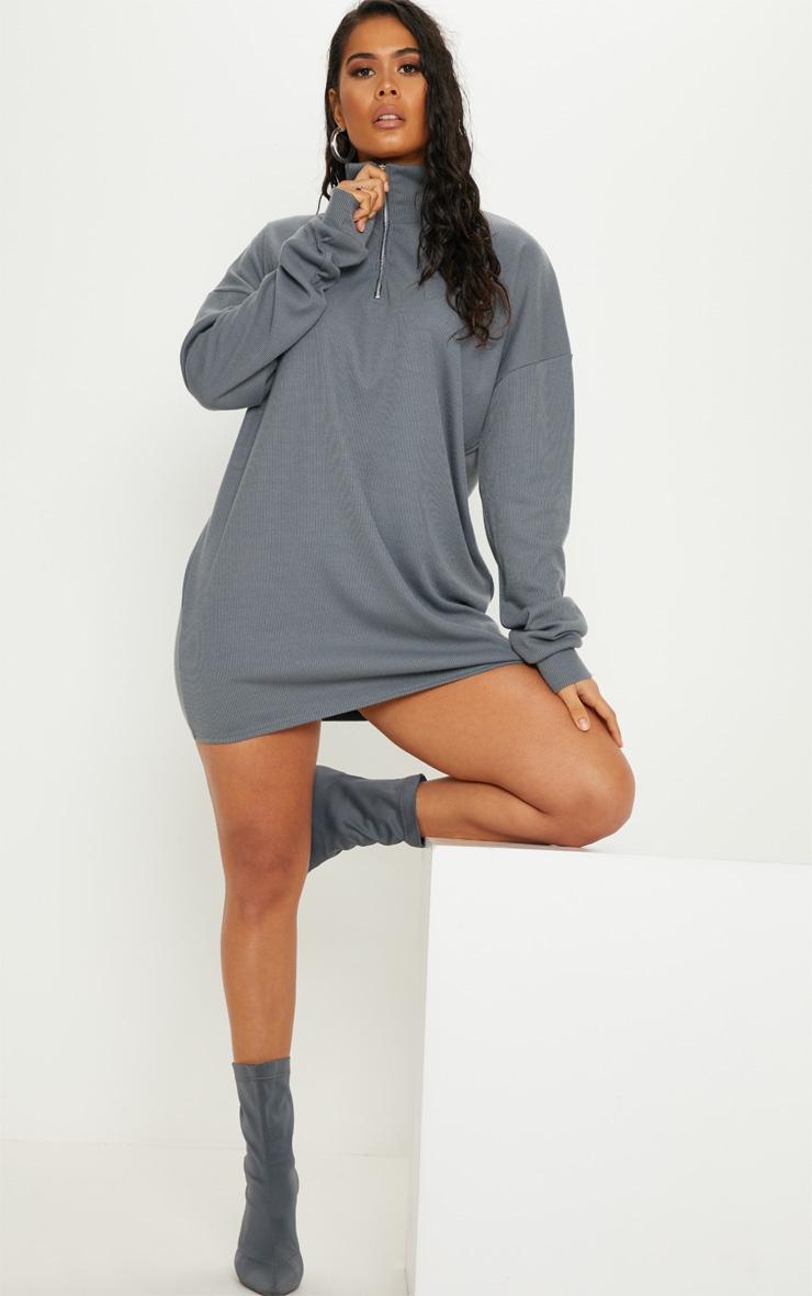 Charcoal Blue Rib Zip Front Elasticated Hem Jumper Dress 4