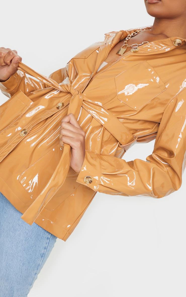 Tan Vinyl Belted Oversized Jacket 5