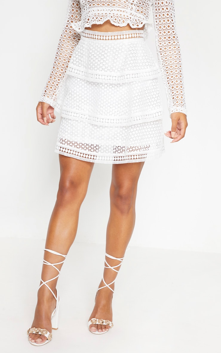 White Crochet Tiered Frill Mini Skirt 2