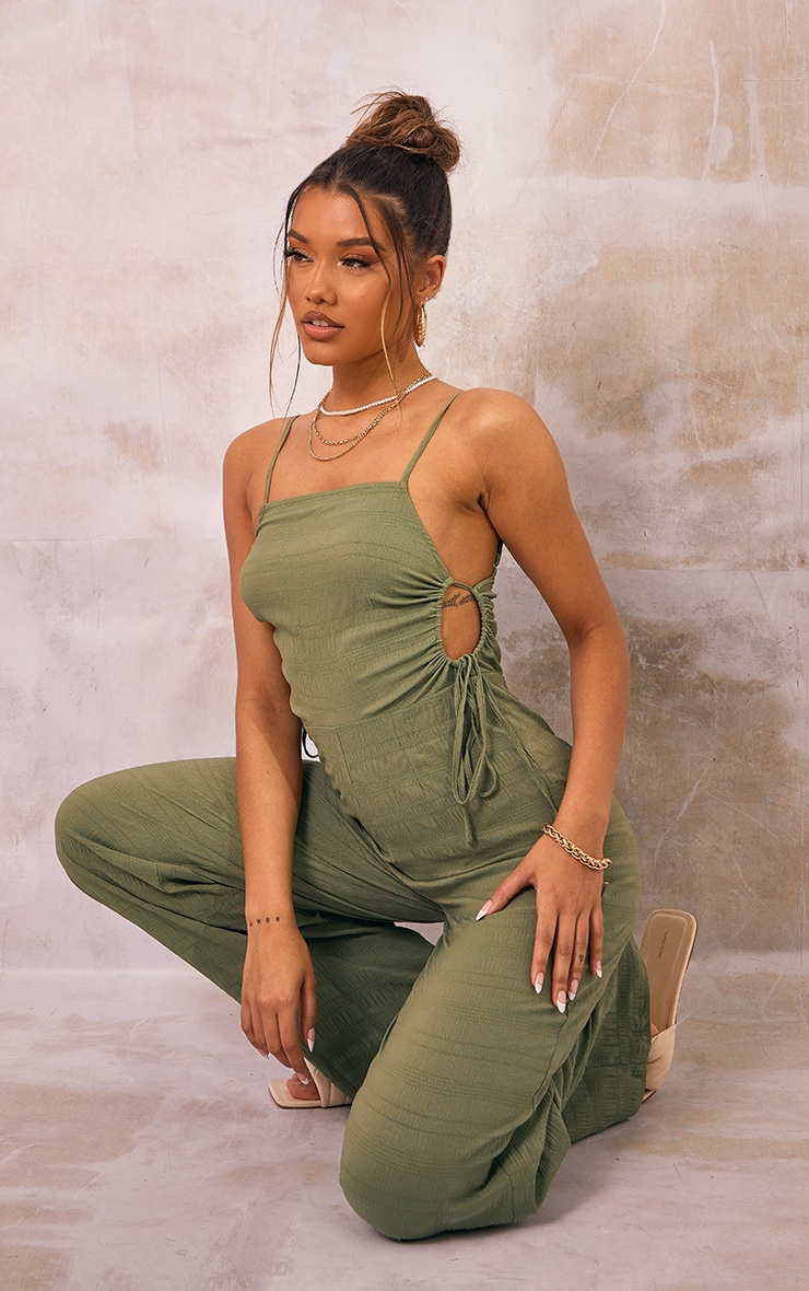 Khaki Crinkle Ruched Side Strappy Jumpsuit 1