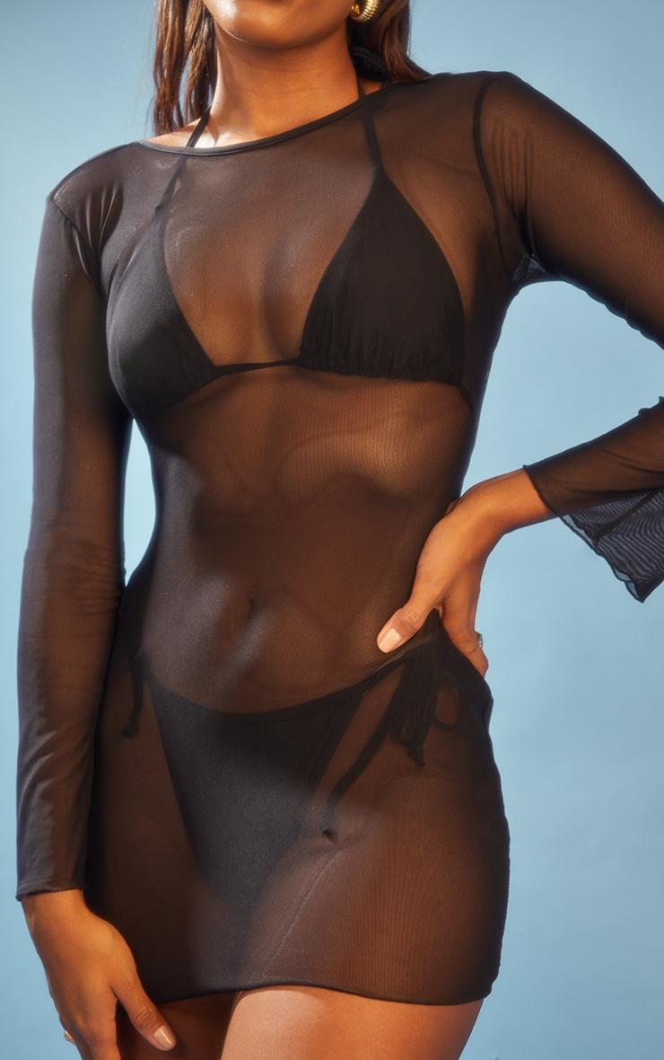 Black  Lace Up Back Mesh Mini Dress 4