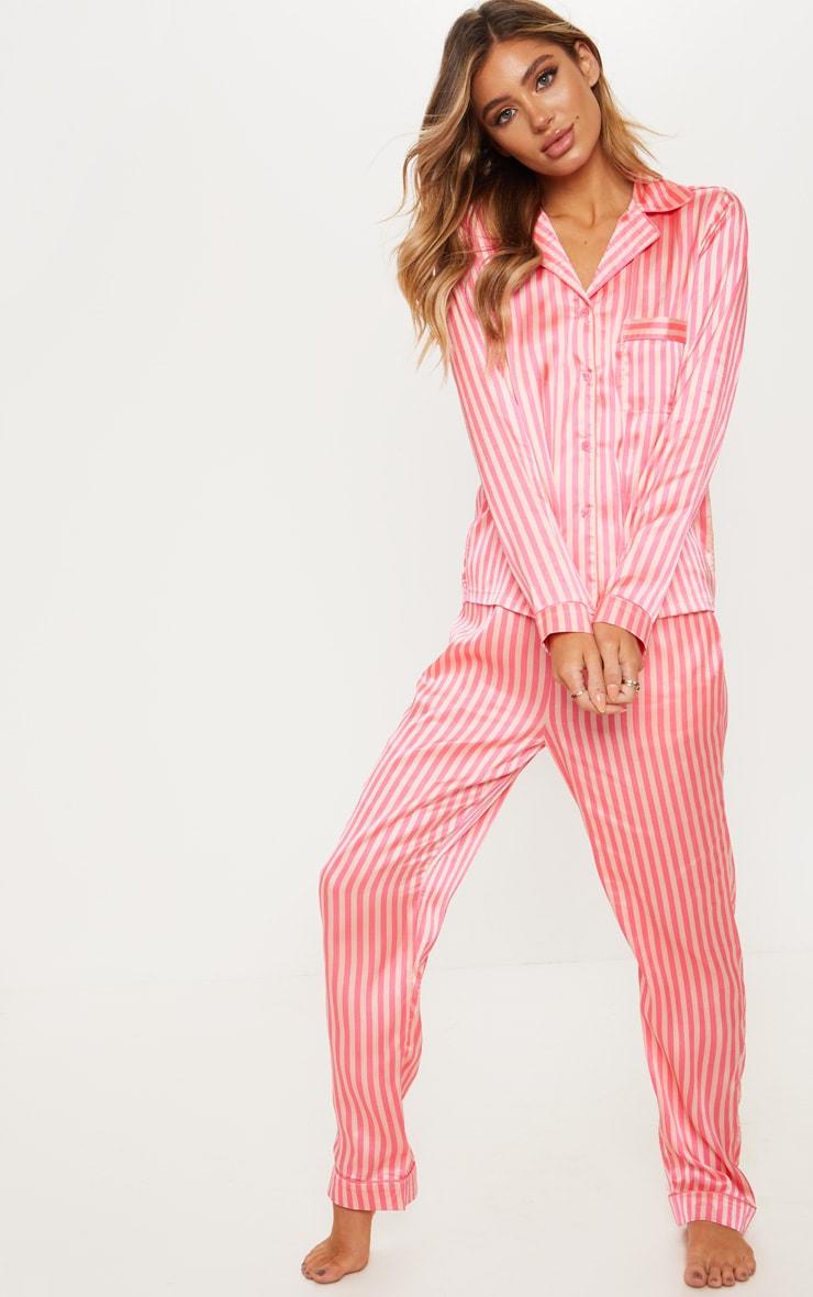 Pink Long Striped Satin Pyjama Set 1