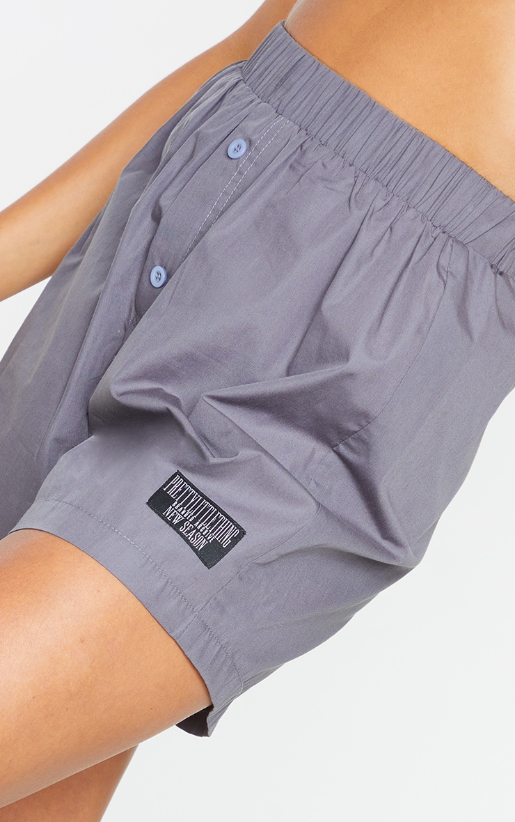 PRETTYLITTLETHING Charcoal Woven Boxer Detail Shorts 5