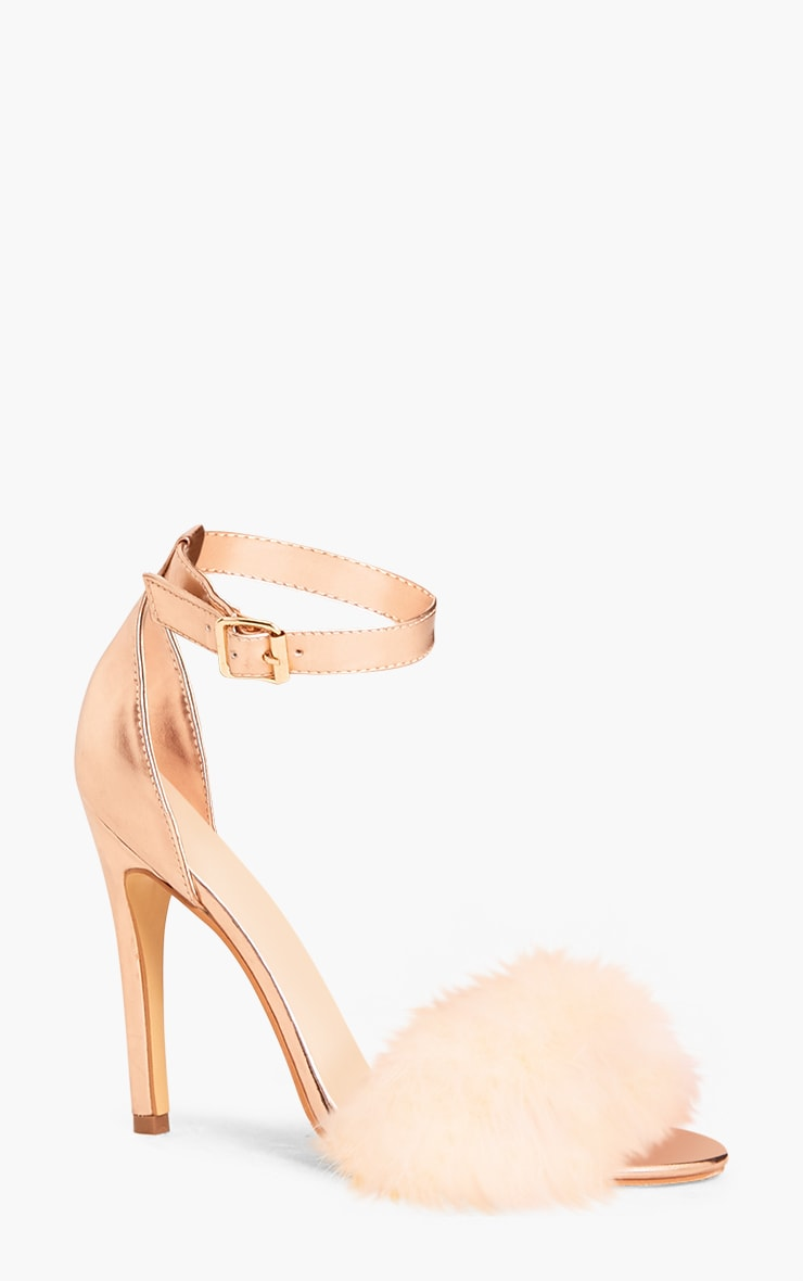 Soraya Nude Feather Strap Heels 3