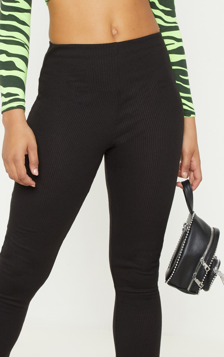 Tall Black Ribbed Flared Pants 5