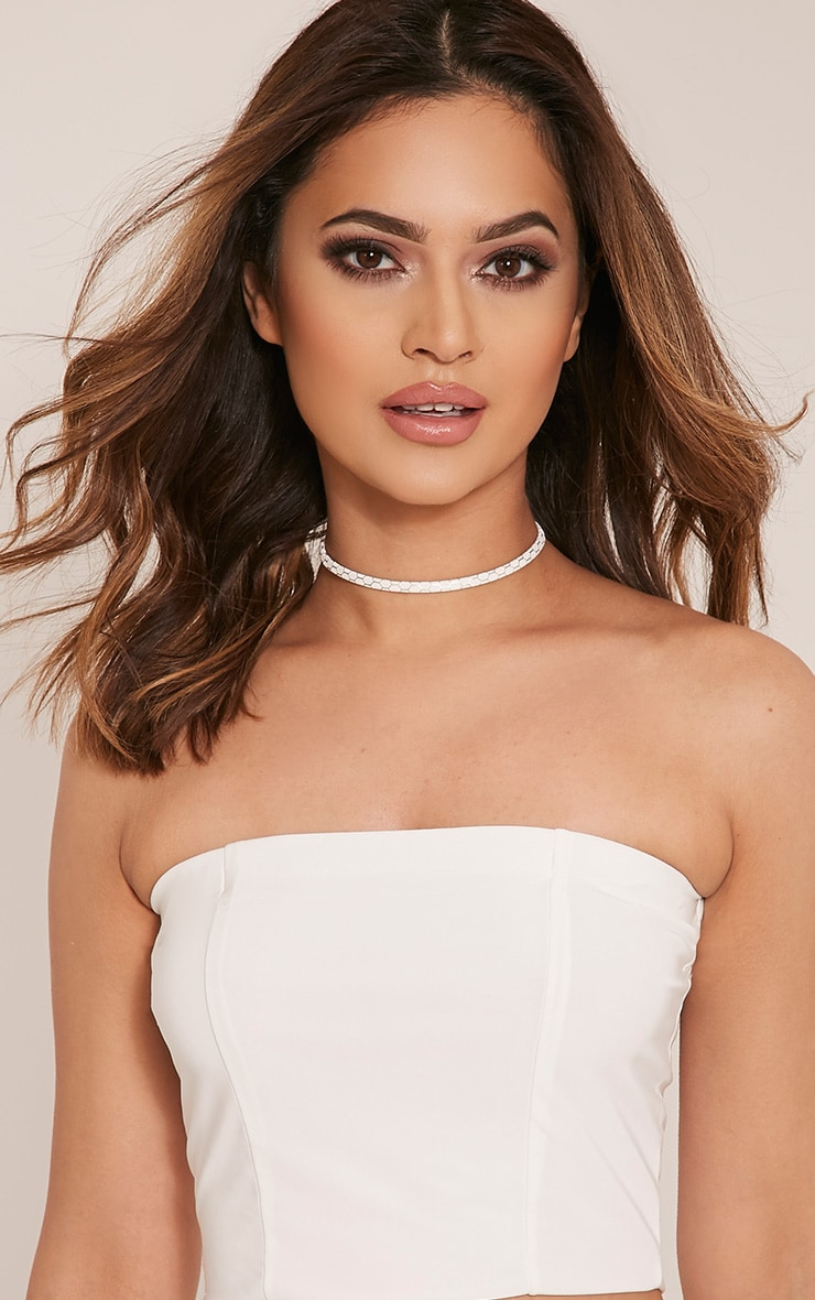Taylah White Snakeprint Thinline Choker 1