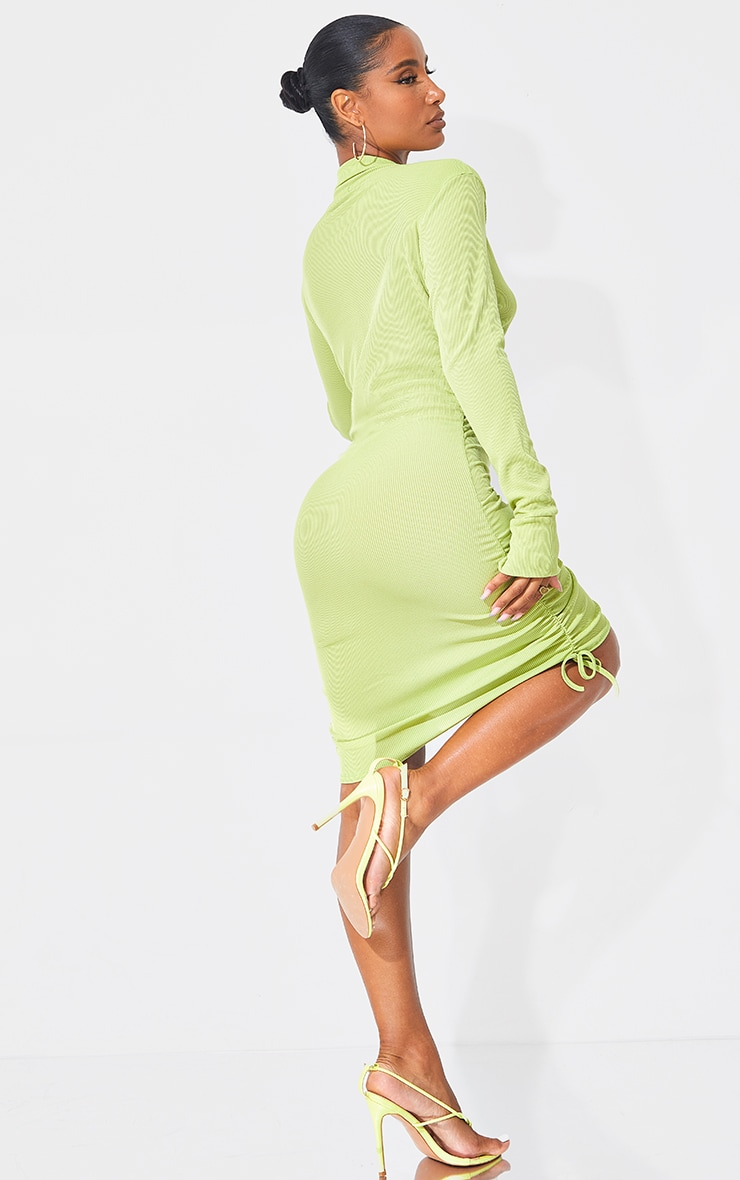 Lime Rib Ruched Collar Detail Bodycon Dress 2