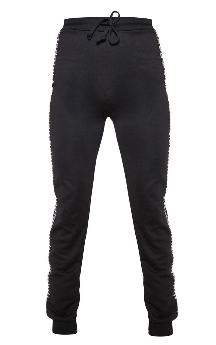 Black Houndstooth Side Stripe Jogger 3