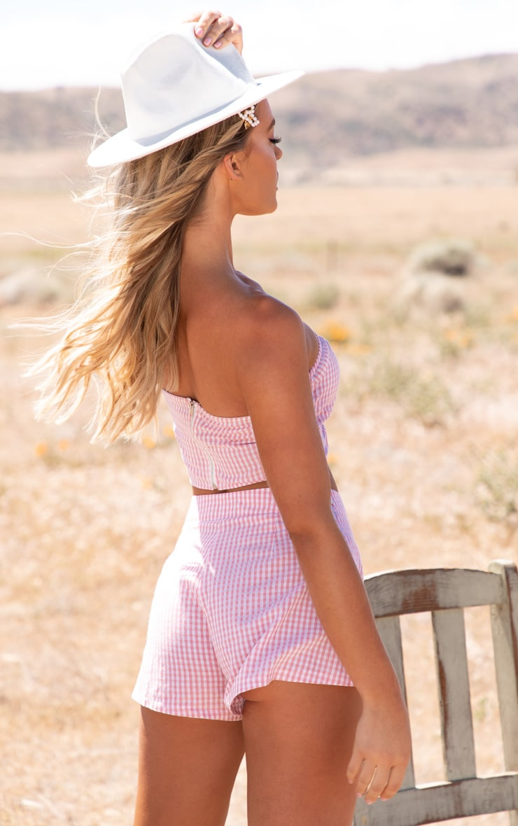 Pink Gingham Bandeau Button Detail Crop Top 2