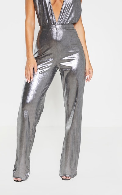 Silver Metallic Straight Leg Trousers