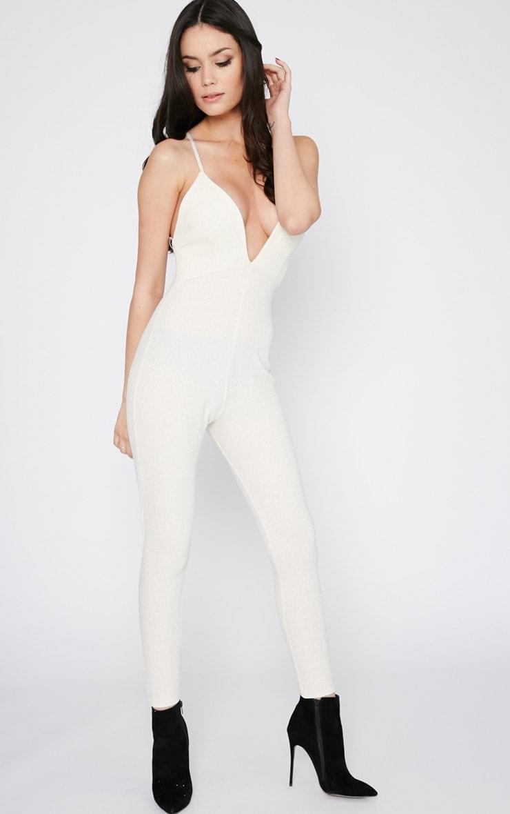 Kotori Cream Glitter Plunge Jumpsuit  9