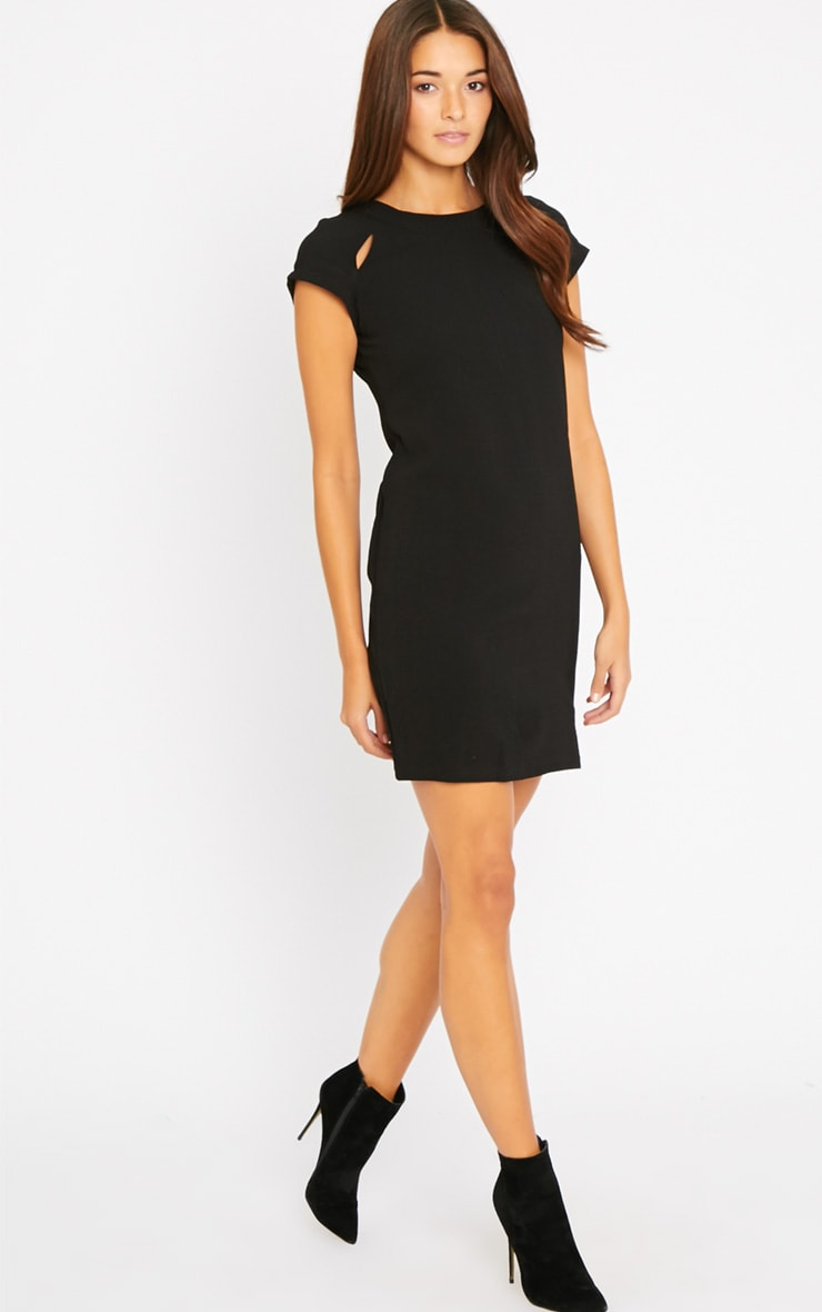 Hannah Black Waffle Shift Dress 3