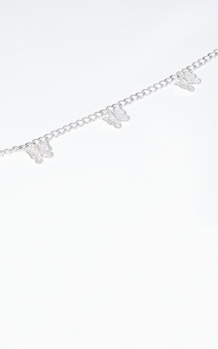 Silver Multi Pave Simple Butterfly Necklace 3