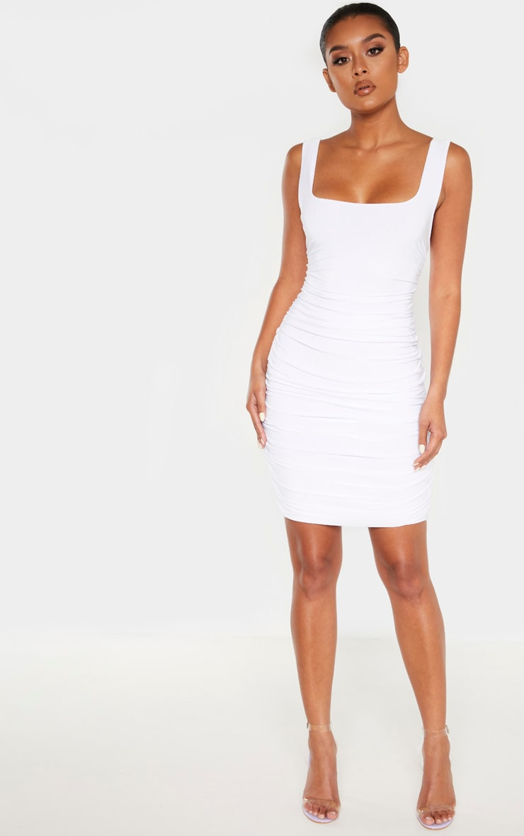 White Slinky Ruched Sleeveless Bodycon Dress 4