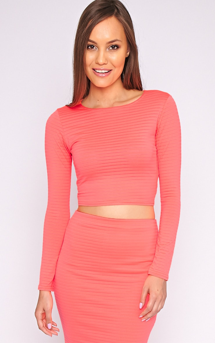 Tara Neon Coral Long Sleeve Stripe Mesh Crop 1