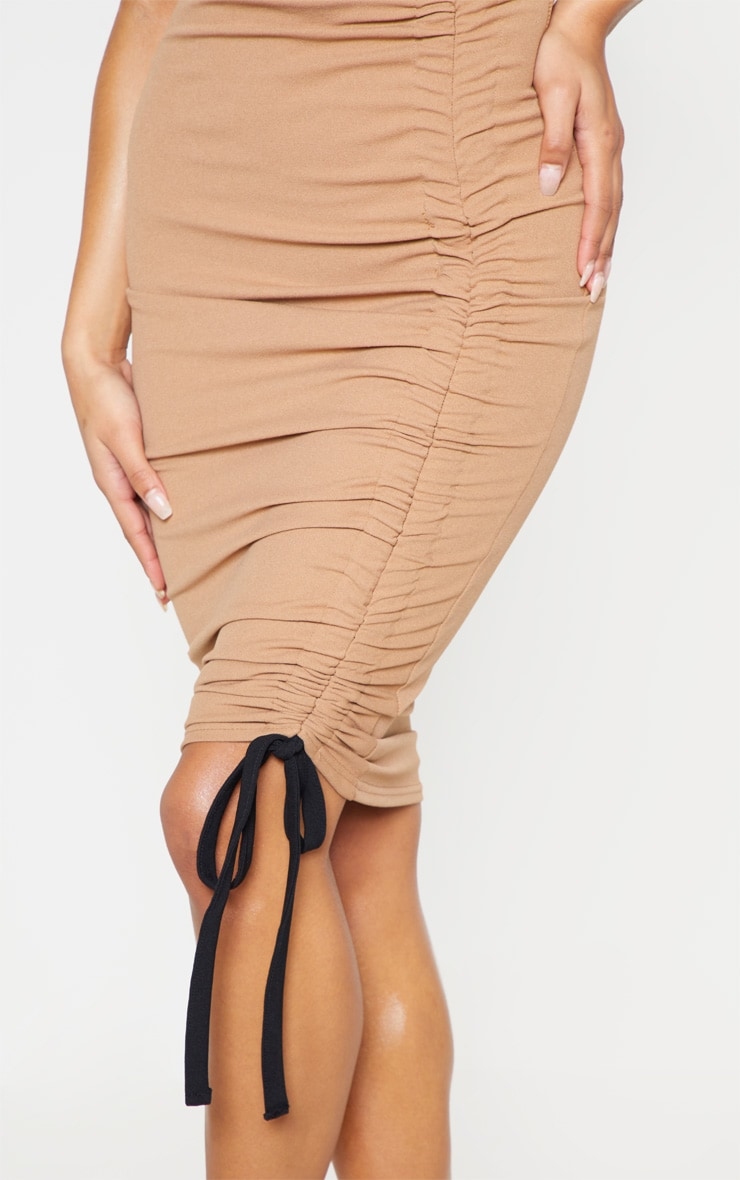 Camel Ruched Detail Midi Skirt 6