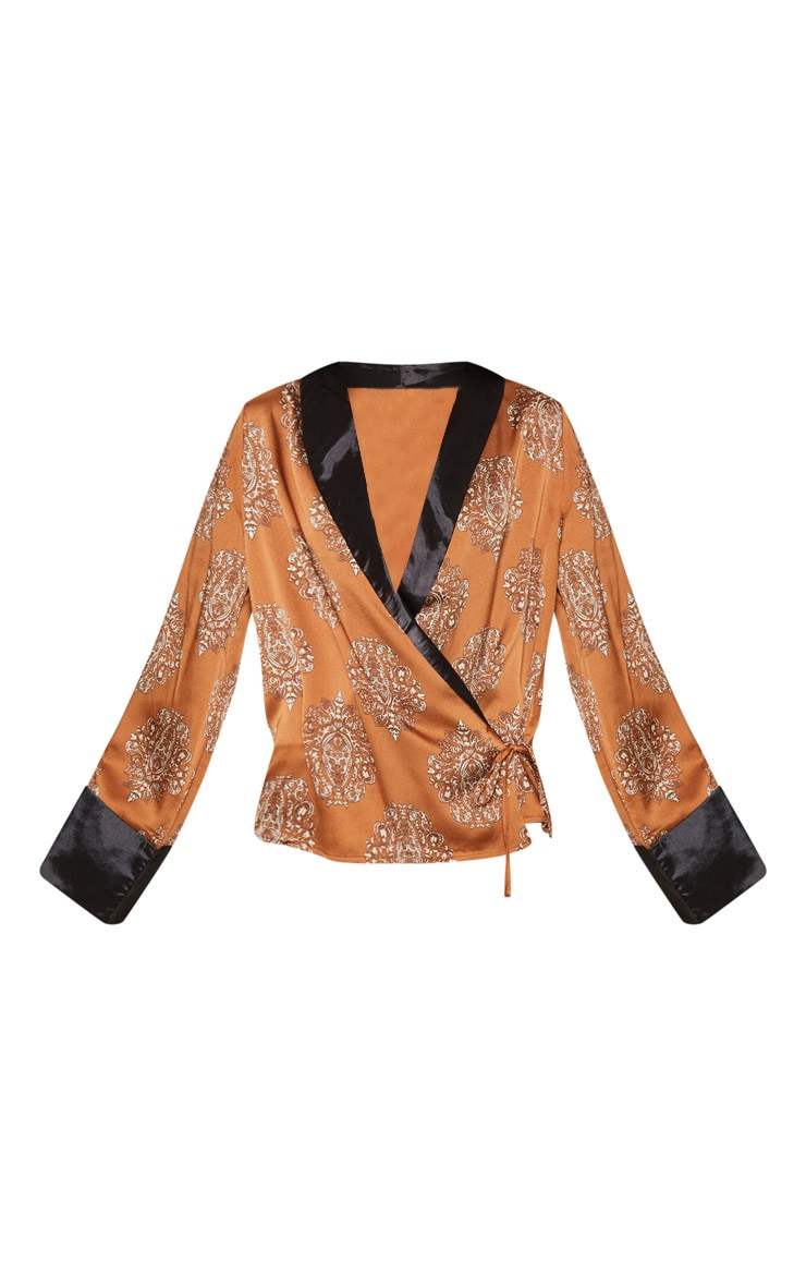 Rust Satin Paisley Print Contrast Blouse 3