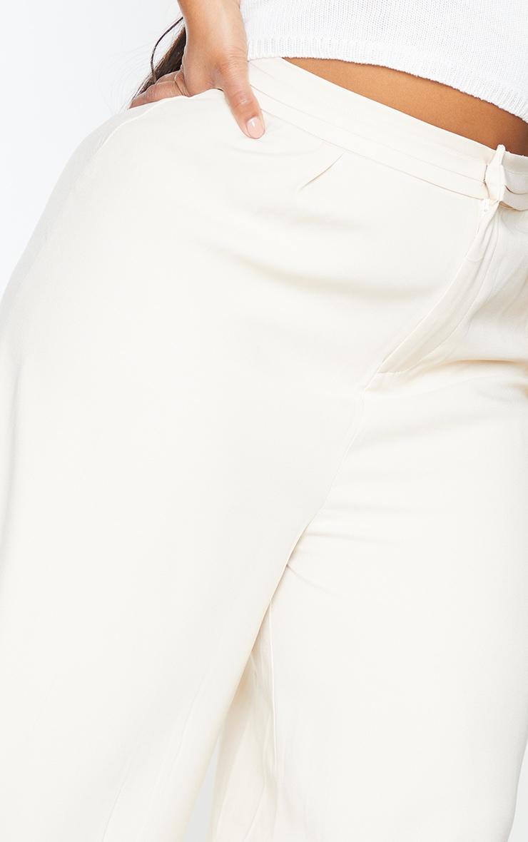 Plus Cream Woven Pleat Detail Waistband Wide Leg Trousers 4