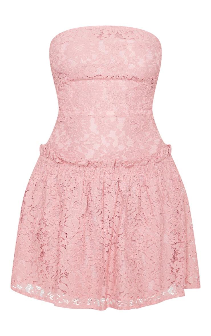 Rose Lace Bandeau Frill Hem Skater Dress 5