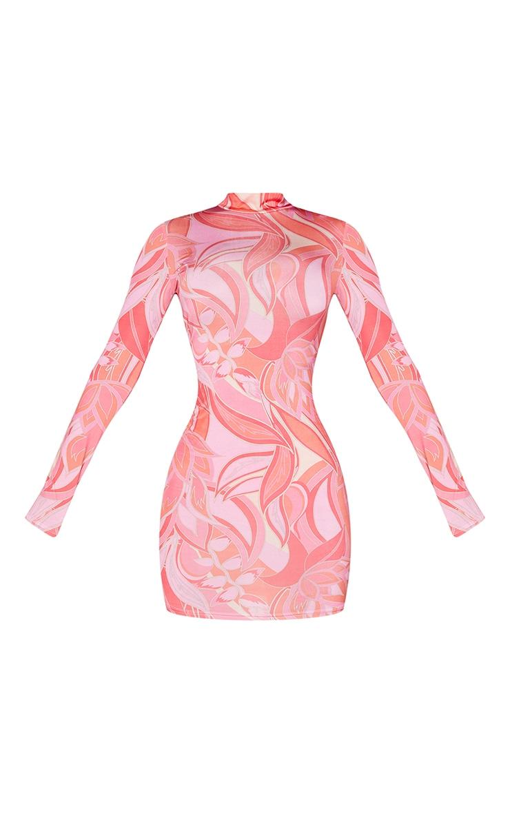 Petite Pink Floral Print Slinky High Neck Long Sleeve Bodycon Dress 5