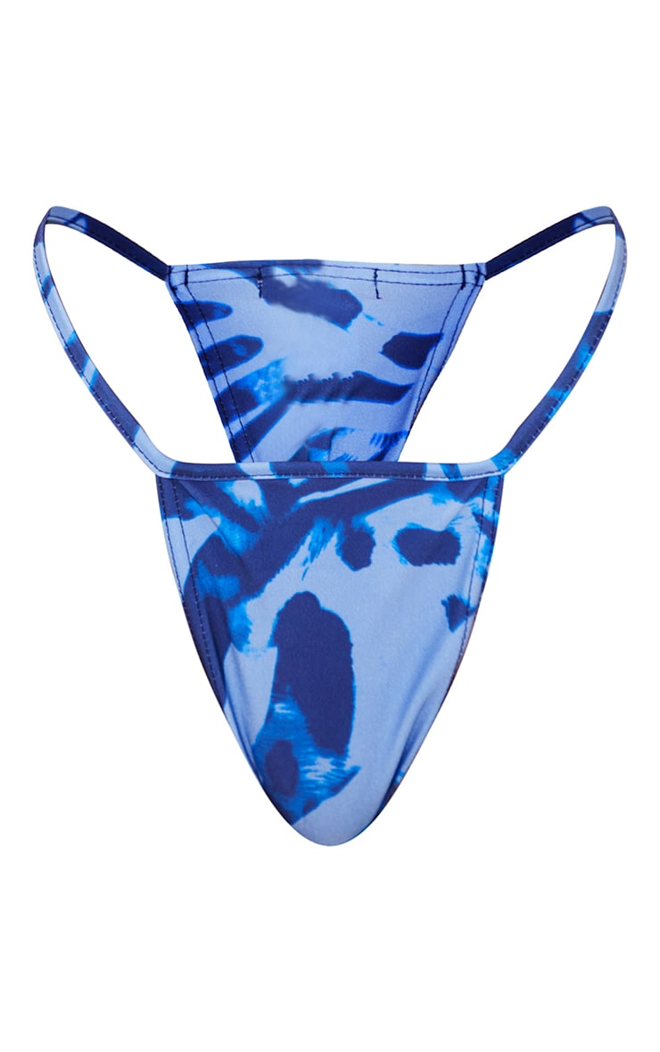 Blue Zebra Print Mini Brazilian Bikini Bottoms 5