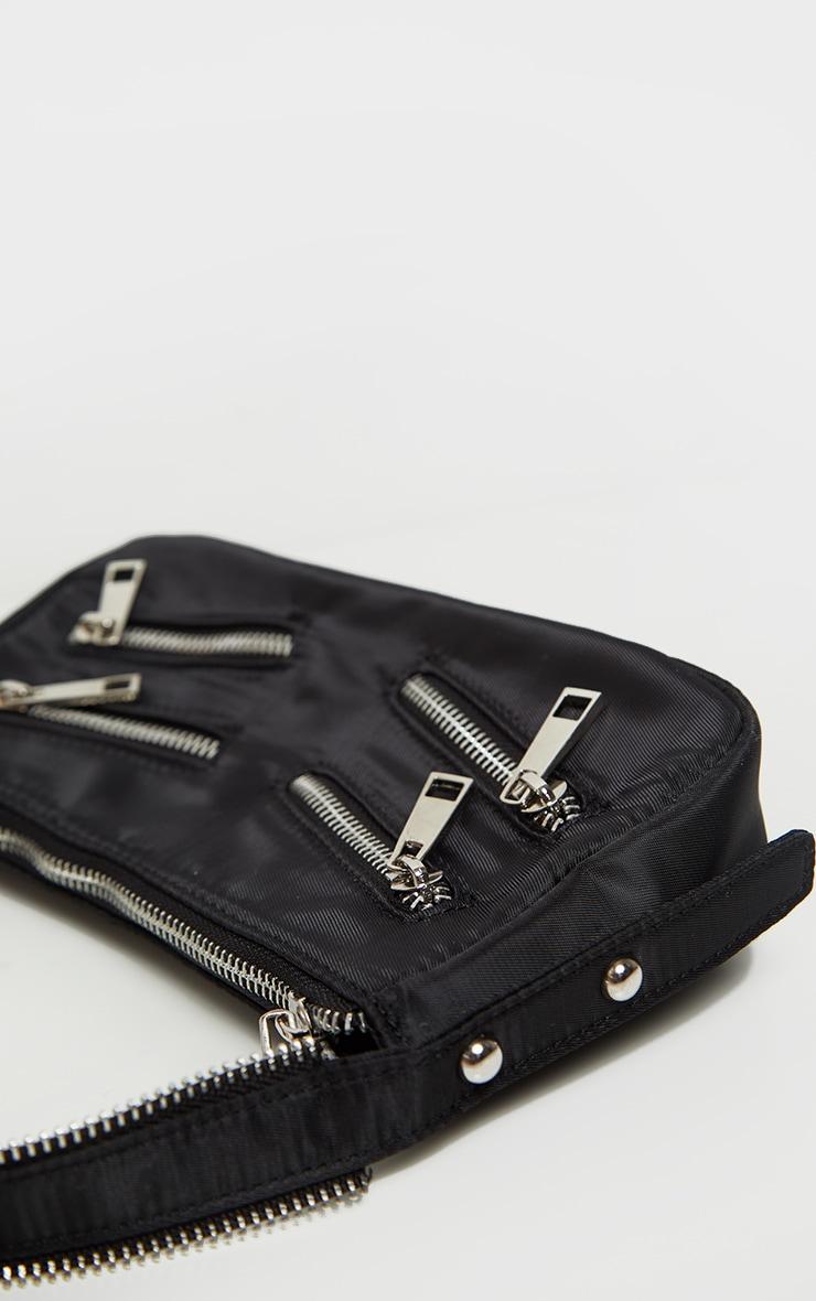 Black Satin Front Zip Detail Shoulder Bag 3