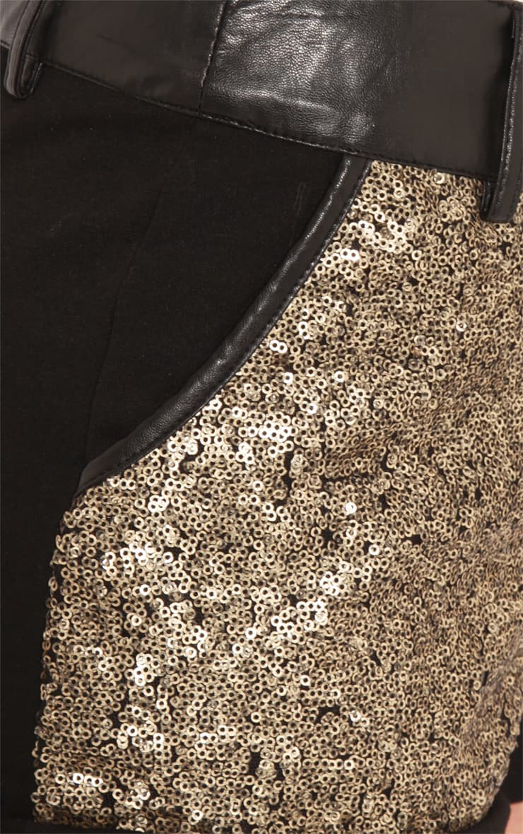 Natalia Black Shorts With Gold Sequin Panelling 5