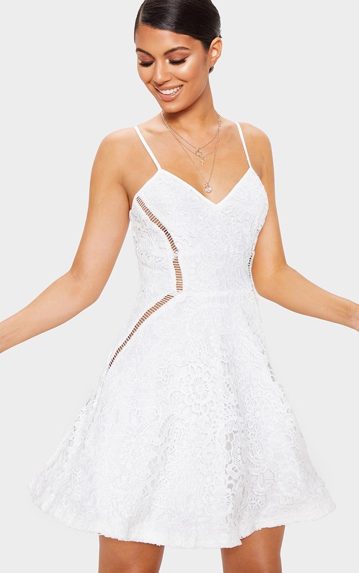 a5adb33fd53a White Strappy Lace Cami Skater Dress image 1