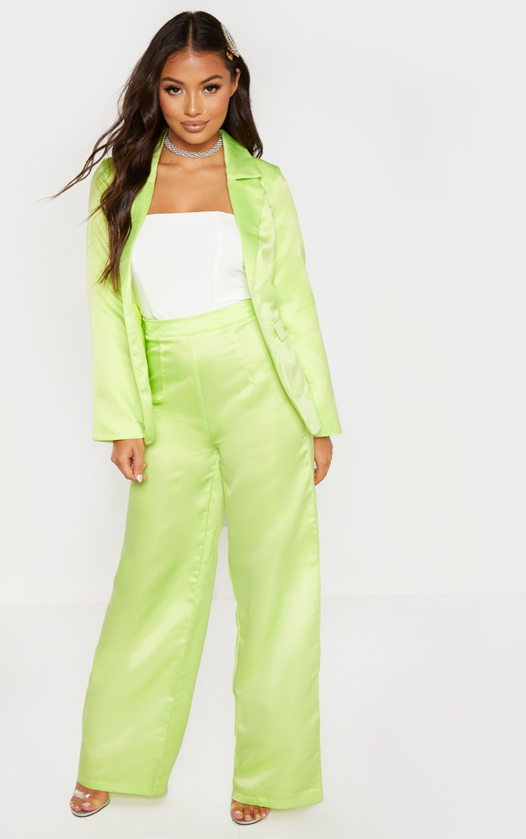Petite Pale Lime Satin Oversized Blazer  4
