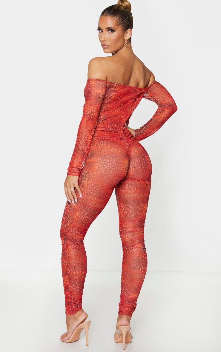 Orange Croc Mesh Bardot Ruched Jumpsuit 2