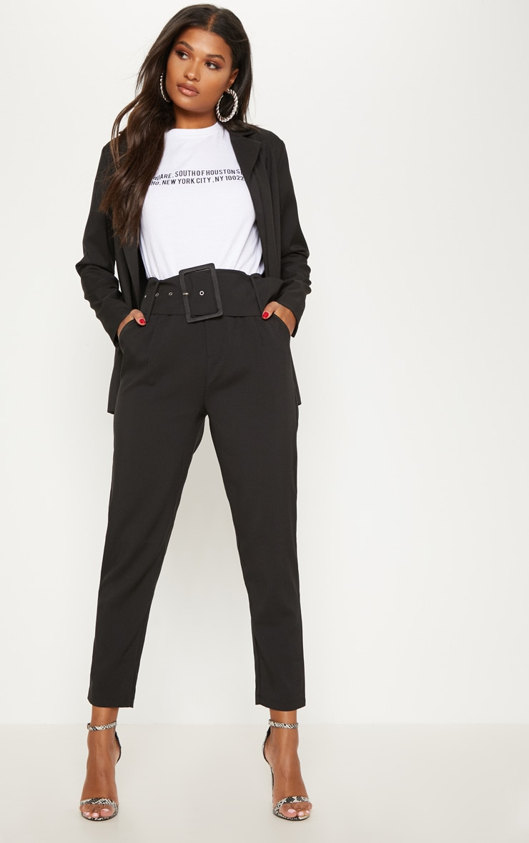 Black Super High Waisted Belted Tapered Pants 2