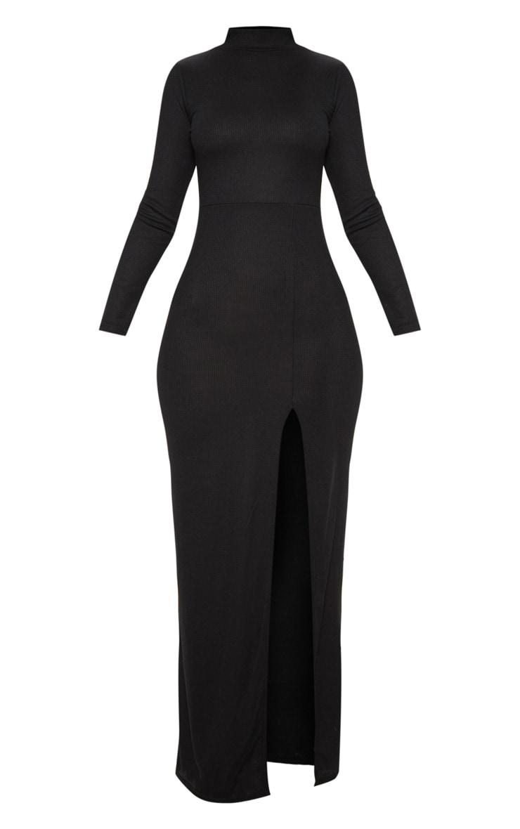 Black Ribbed Long Sleeve Maxi Dress 3