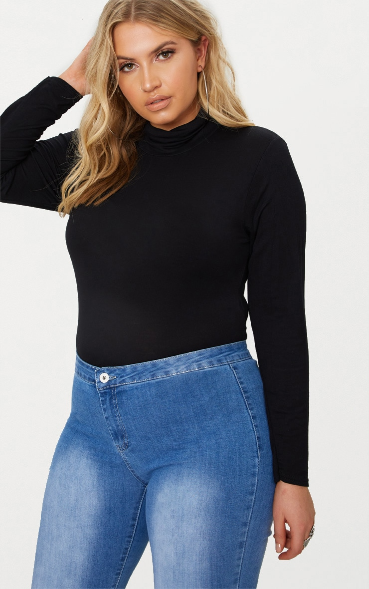 Plus  Black Roll Neck Long Sleeve Bodysuit 1