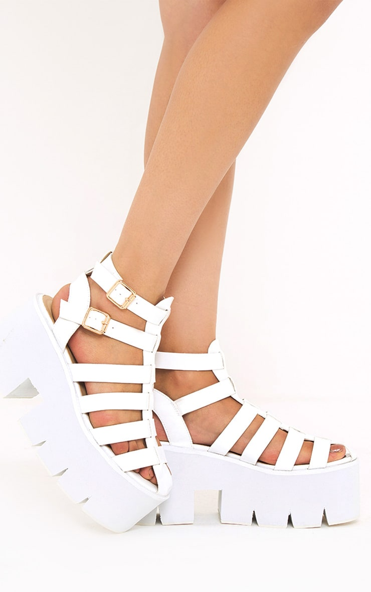Jovana White Cleated Flatform Sandals 1