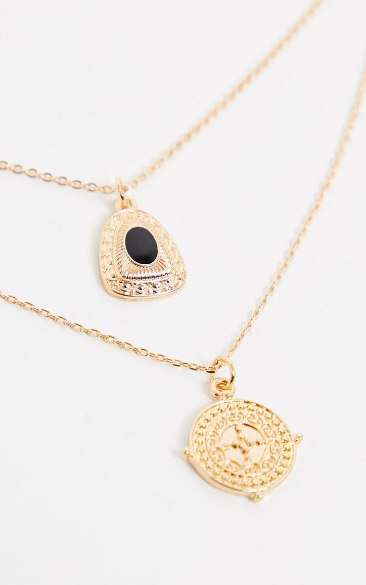 Gold Multi Pendant Locket And Black Gemstone Necklace 4