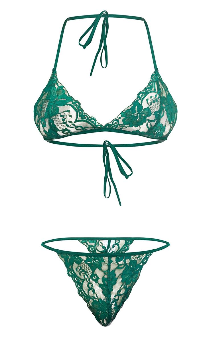 Emerald Halterneck Lace Tie Back Bra Lingerie Set 3