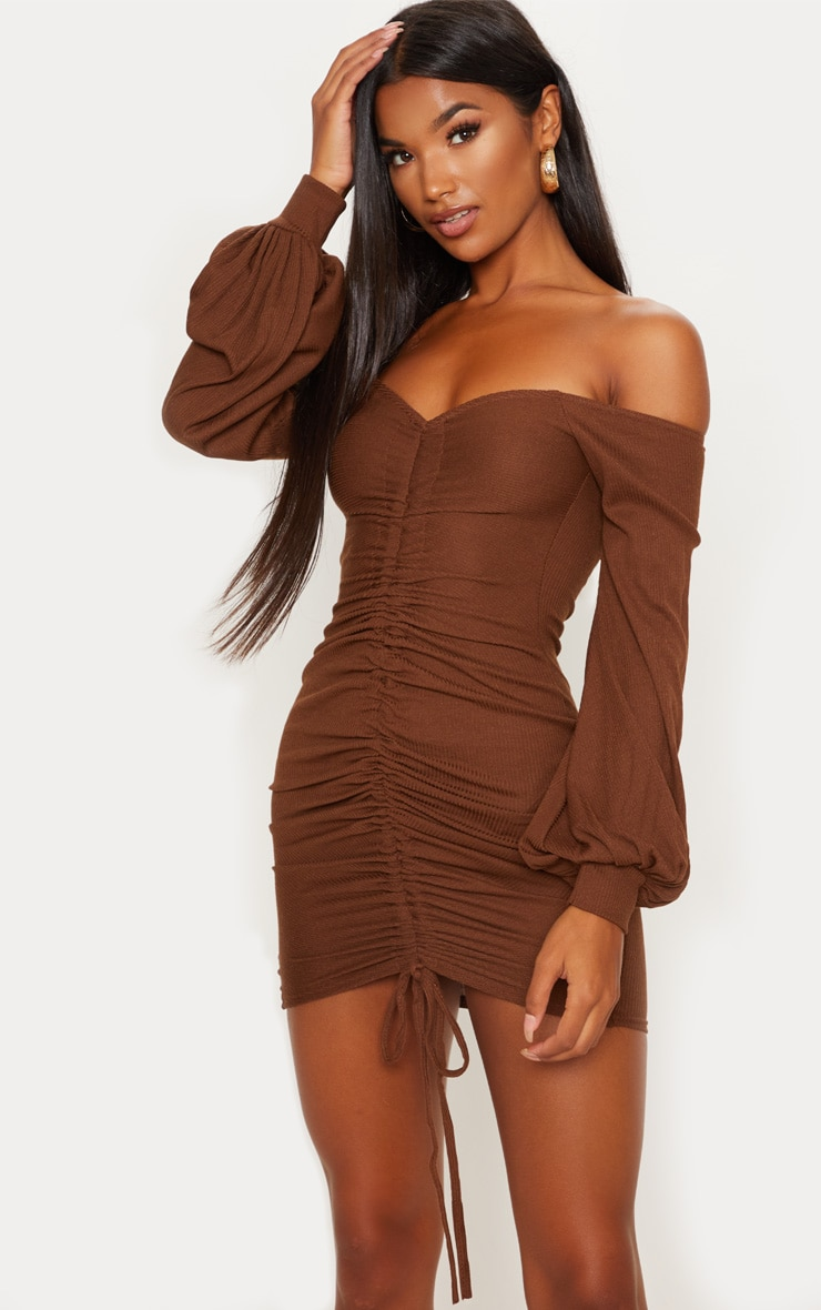Chocolate Brown Ribbed Bardot Balloon Sleeve Ruched Bodycon Dress 1